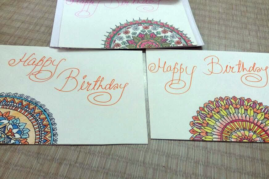 Birthday cards made by artist Indira sushi Kumar for all MS persons